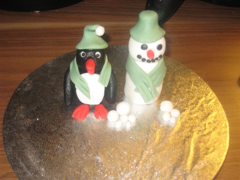 Sugarpaste Penguin & Snowman Figures