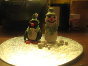 Penguin and Snowman Sugarpaste Figures